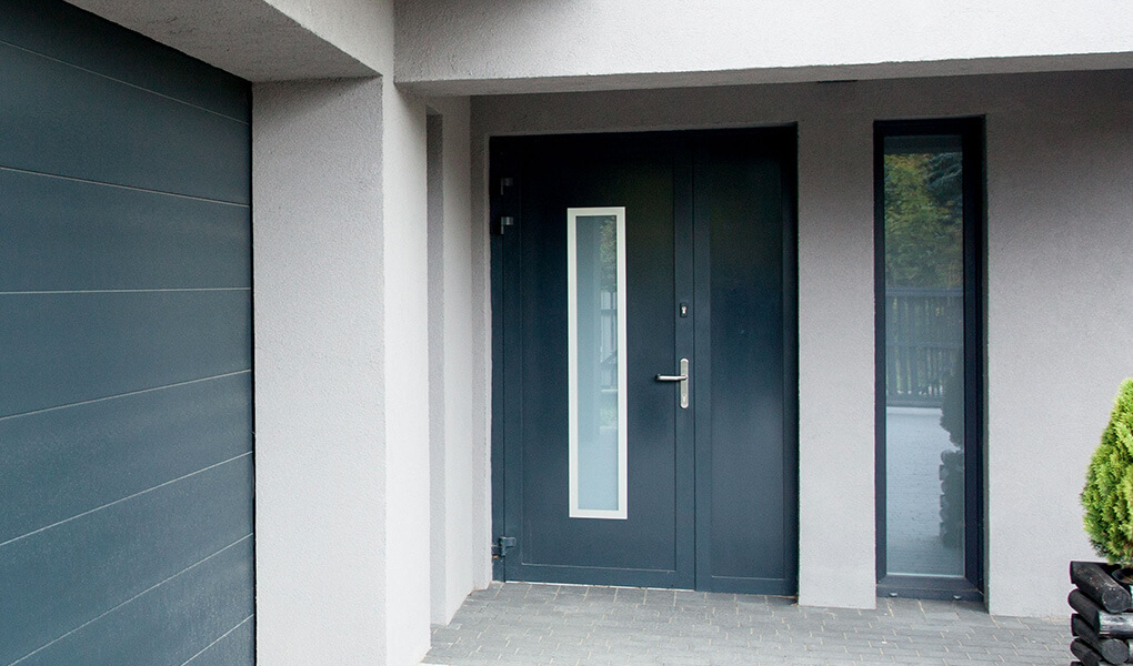Anthracite grey aluminium entrance door with frosted glass