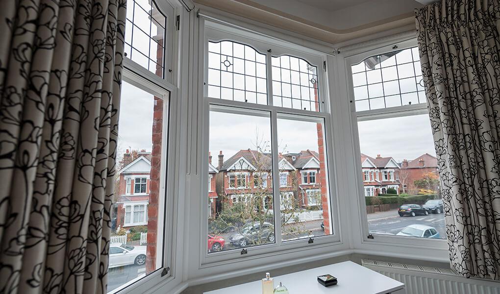 Bay timber vertical sliding windows interior view