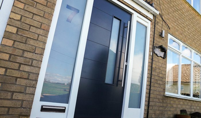 Modern black timber entrance door