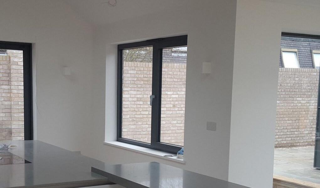 Grey aluminium casement windows
