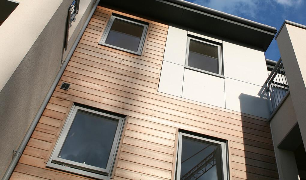 Grey aluminium top hung casement windows