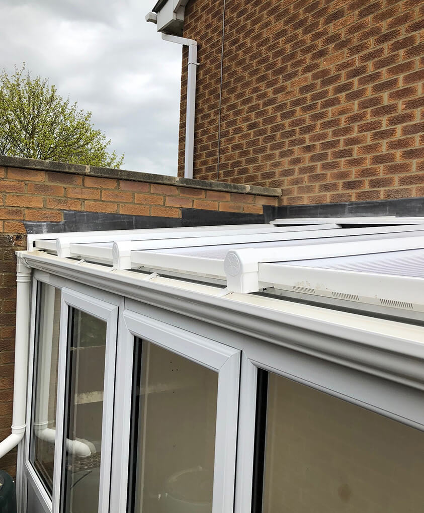 White uPVC Lean To conservatory roof close up