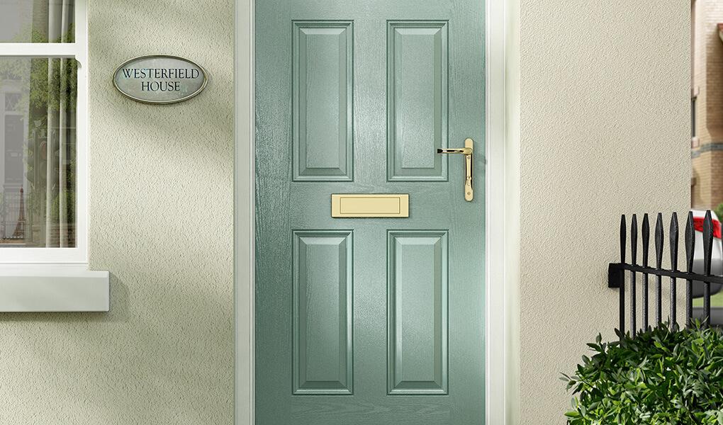 Light green composite fire door