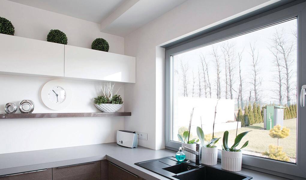 Light grey aluminium tilt and turn window