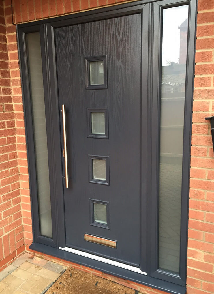 Modern grey composite door with side panels
