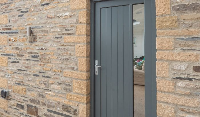 Modern grey timber entrance door