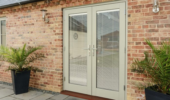 Painted timber french door