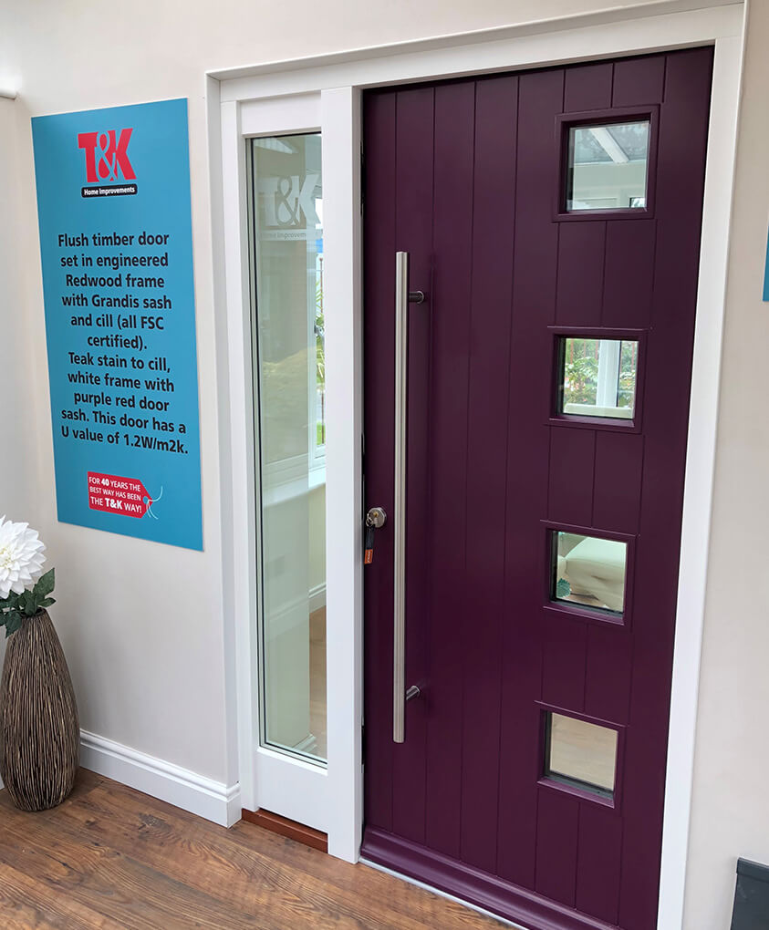 Modern purple timber entrance door