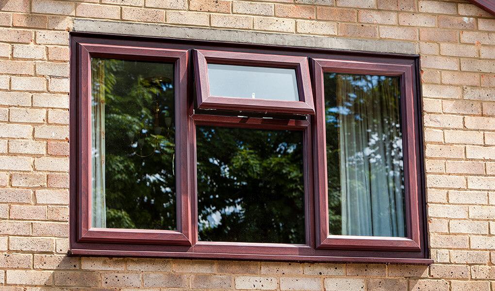 Rosewood uPVC casement window
