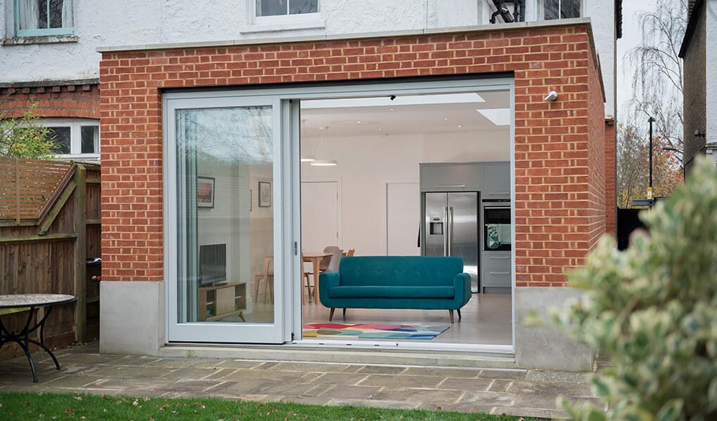 Grey timber patio door
