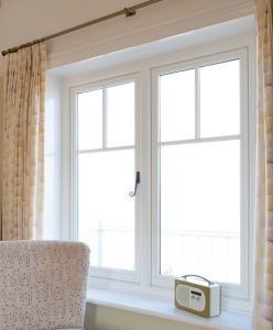 White timber casement window interior view