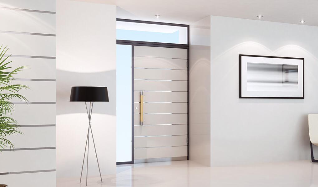Modern white aluminium front door