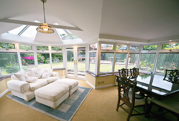 Home extension with ceiling lights