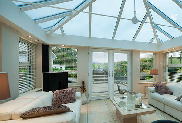 Conservatory with recessed spotlights