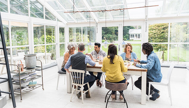 Social gathering in a conservatory