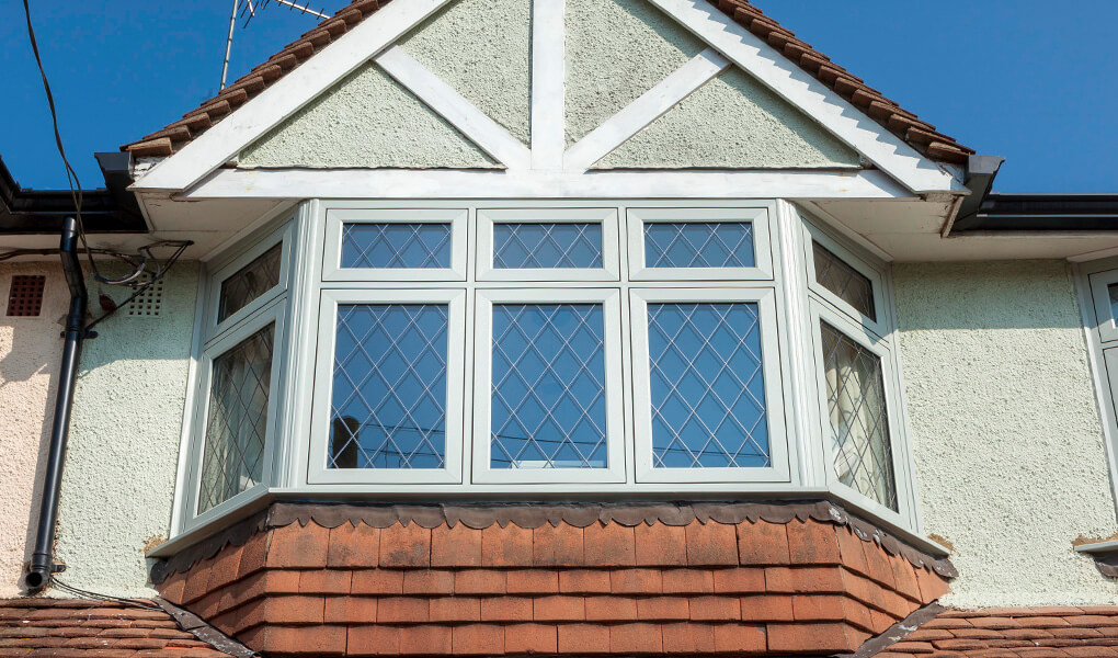 uPVC flush sash bow window with leaded glass