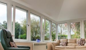 White uPVC tilt and turn windows interior view