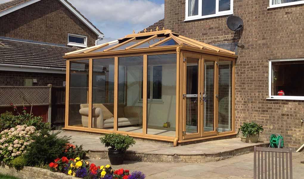 Irish oak Edwardian conservatory