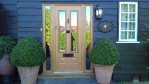 A uPVC oak effect front door for a barn conversion