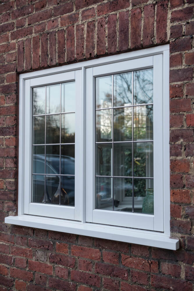 Timber casement windows in white