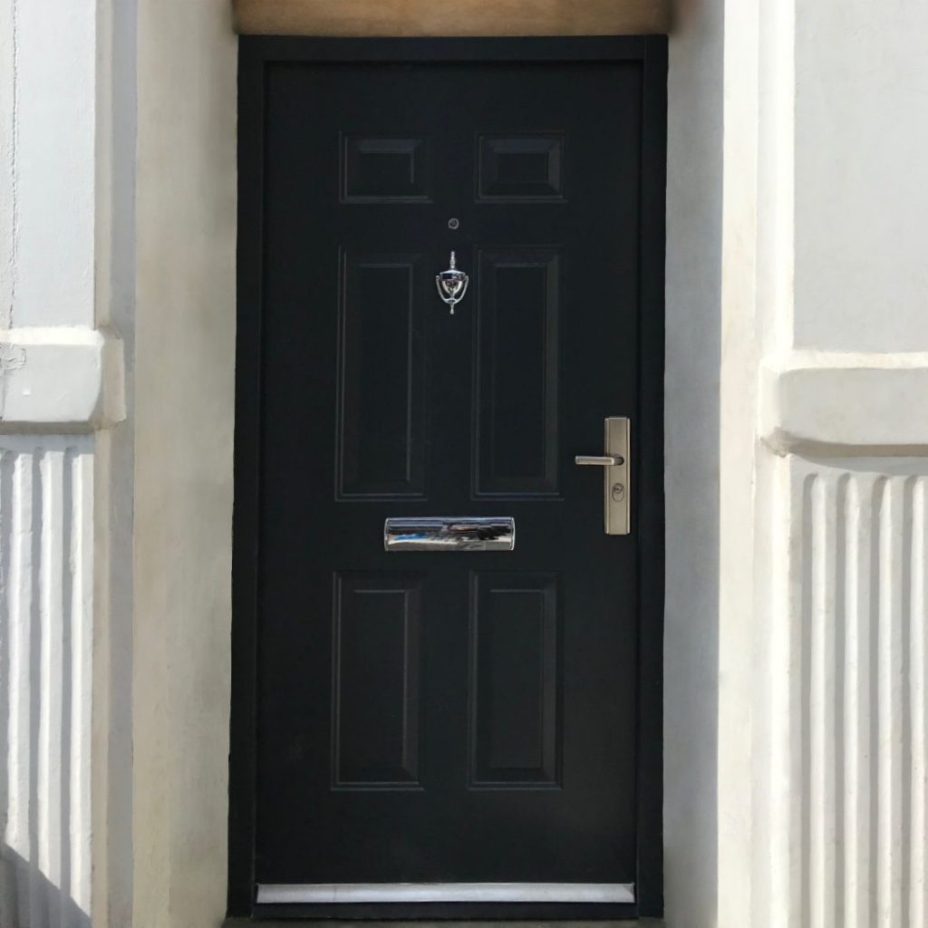 Steel front door in Black