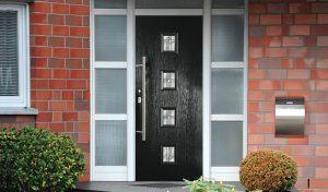 Contemporary black composite front door