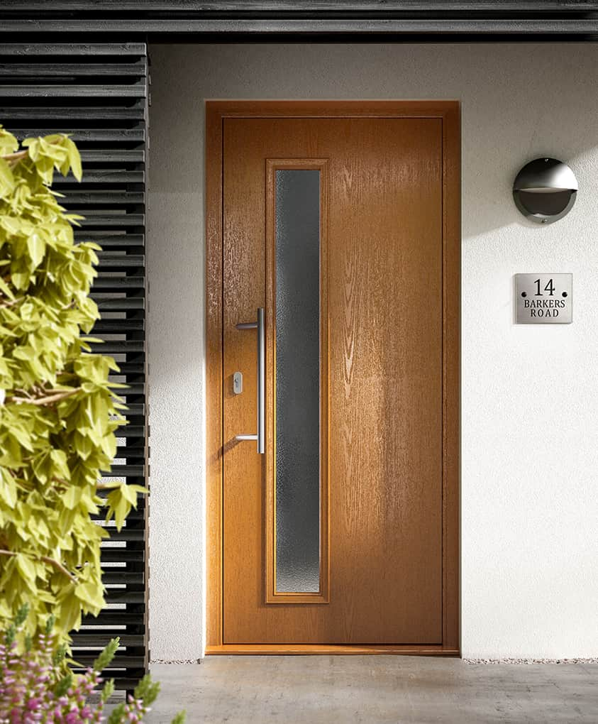 Modern oak composite front door
