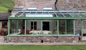 Sage green uPVC Lean To conservatory