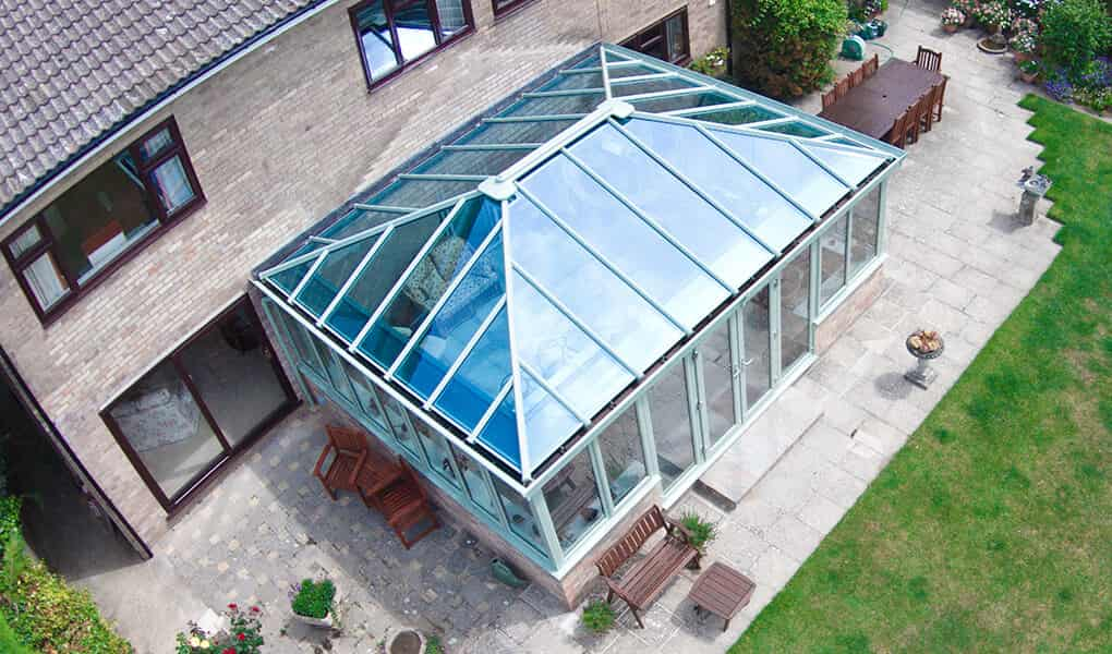 Sage green edwardian conservatory