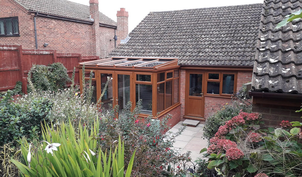 light oak lean-to conservatory