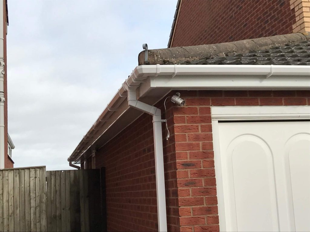 uPVC guttering and downpipes in white