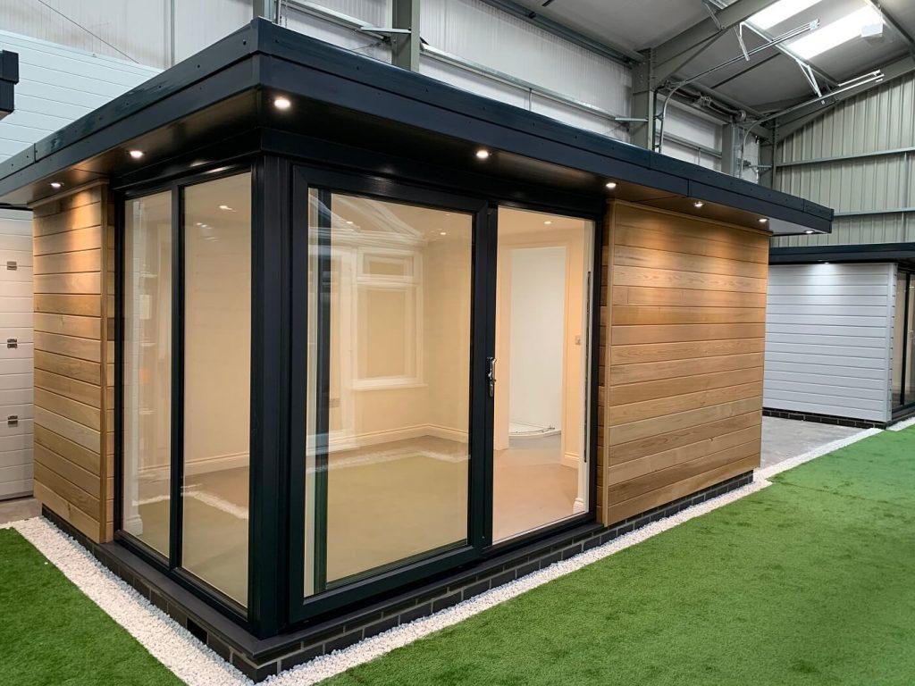 Oak garden room with black patio doors