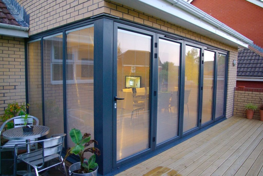 Extension bifold doors with integral blinds